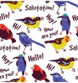 Bright birds greetings seamless pattern wallpaper vector image