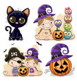 set of halloween cards with two girls