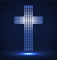 abstract neon halftone cross christian symbol vector image