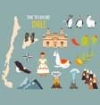 big set with landmarks animals symbols of chile vector image vector image