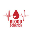 blood donor logo vector image vector image