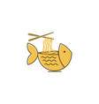bowl fish noodle logo design inspiration isolated vector image
