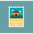 Bungalow with palm trees stamp Summer Vacation vector image vector image
