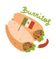 buritos mexican food with small flag favorite vector image