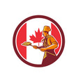 canadian pizza baker canada flag icon vector image vector image