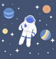 cartoon character cosmonaut on cosmic travel vector image