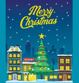 christmas design with city in night vector image