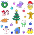 Christmas set of doodle vector image vector image