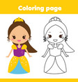coloring page with cute princess educational game vector image vector image