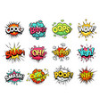 comic sign clouds boom bang wow and cool speech vector image vector image