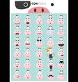 Cow emoji icons vector image