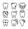cute teeth line style set with different vector image