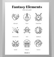 fantasy icons line pack vector image vector image
