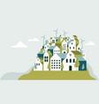 Flat geometric buildings eco city landscape