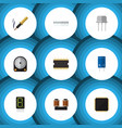 flat icon device set of microprocessor hdd vector image vector image