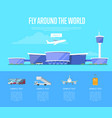 fly around the world concept for airline vector image