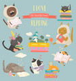 funny cartoon cats reading books set vector image vector image