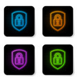 glowing neon shield security with lock icon vector image vector image