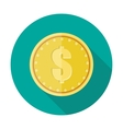 Gold coin icon with dollar currency symbol vector image vector image