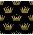golden royal crowns seamless pattern vector image vector image