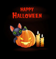 halloween background with black cat and pumpkin vector image vector image