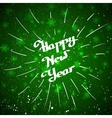 Hand-written Happy New Year with beam over green vector image vector image