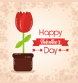 happy valentines day card potted flower decoration vector image