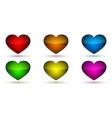 heart icons bright glossy hearts vector image vector image
