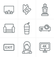 Line Icons Style cinema and movie icons set vector image vector image
