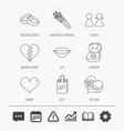 love heart kiss and wedding rings icons vector image vector image