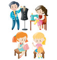 man and woman sewing clothes vector image vector image