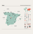 map spain high detailed country map vector image