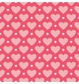 Pink background with hearts and polka dots vector image