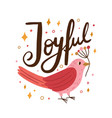 pink beautiful bird holding branch festive card vector image vector image