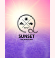 pink sunset with violet water sea surface vector image