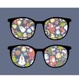 Retro sunglasses with christmas time reflection vector image