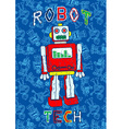 Robot print with a repeat robot background vector image vector image