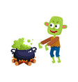 scary green zombie monster and halloween caldron vector image vector image