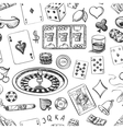 Seamless casino hand drawn pattern vector image vector image