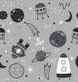 seamless monochrome pattern with space elements vector image vector image