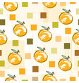 seamless pattern with oranges and squares vector image vector image