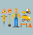set with road worker and various equipment man in vector image vector image