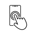 touch smartphone icon with hand for your projects vector image vector image