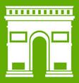triumphal arch icon green vector image vector image