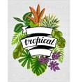 Tropical paradise card with stylized plants and vector image vector image