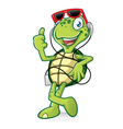 Turtle with Earphone vector image vector image
