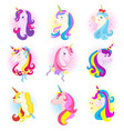 unicorn cartoon horse character with magic vector image
