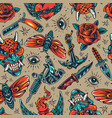 vintage colorful tattoos seamless pattern vector image vector image
