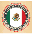 Vintage label cards of Mexico flag vector image vector image