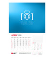 wall calendar planner template for 2018 year vector image vector image